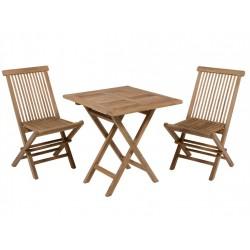 Mesa y dos sillas Teca