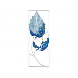 Cuadro azul metálico hojas